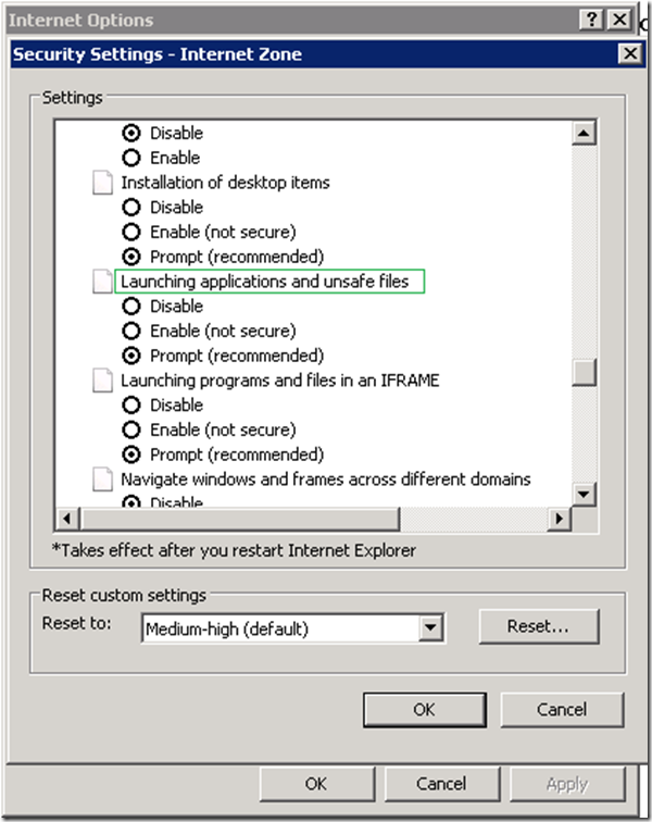 """Group Policy: To configure """"Open File – Security Warning"""