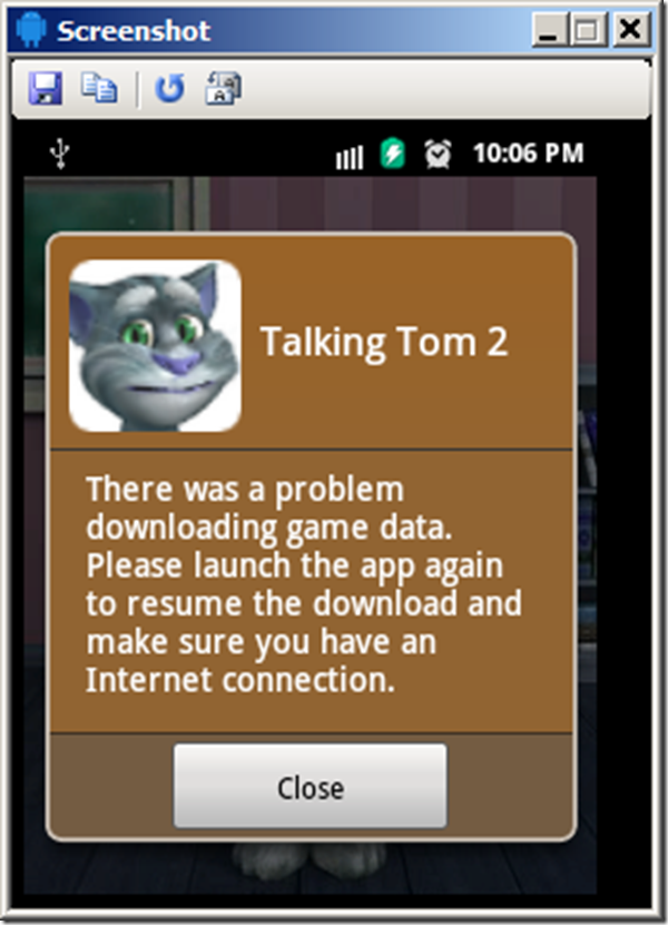 android there was a problem downloading data