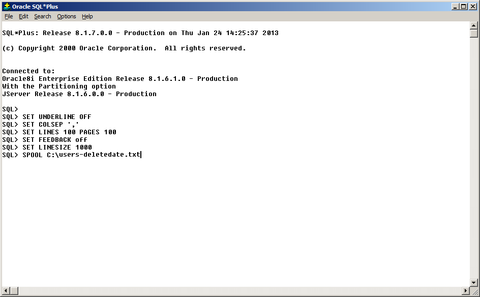 Querying Oracle DB: Formatting and saving results from SQlPlus in