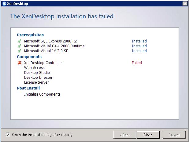 Installing XenDesktop Controller Failed  – GUNNALAG