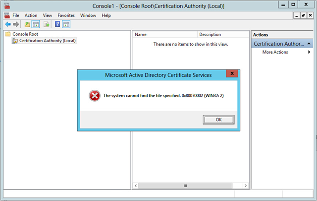 Microsoft Active Directory Certificate Services: The system cannot ...